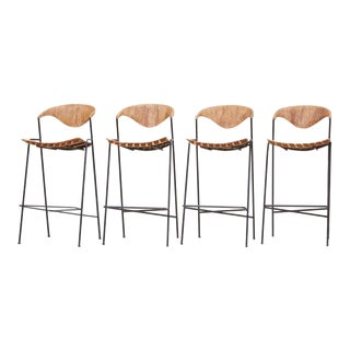 Set of Four Bar Stools by Arthur Umanoff, Us, 1950s For Sale