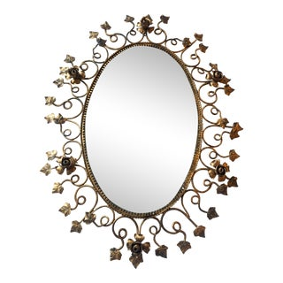 French Gold Rose and Ivy Oval Mirror For Sale