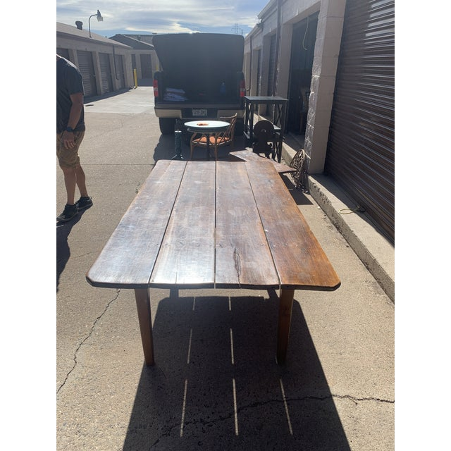 1940s Rustic Custom Built Barnwood PlankTop Dining Table For Sale - Image 5 of 13