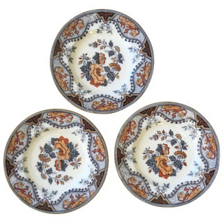 Antique English Pinder & Bourne Alma Polychrome Plates - Set of 3 For Sale