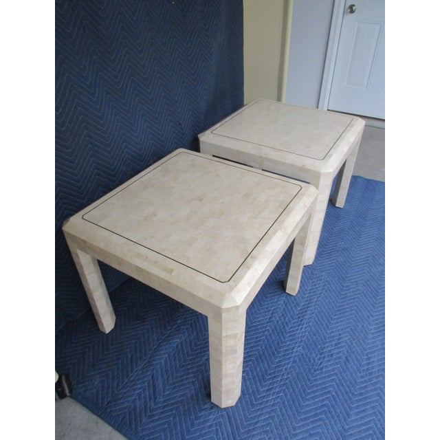 Asian Maitland Smith Tessellated Stone and Brass Side Tables - a Pair For Sale - Image 3 of 12