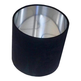 Custom Black Velvet Drum Lampshade with Silver Interior For Sale