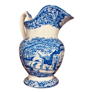 Early 19th Century Staffordshire Large Chinoiserie Blue and White Pitcher For Sale