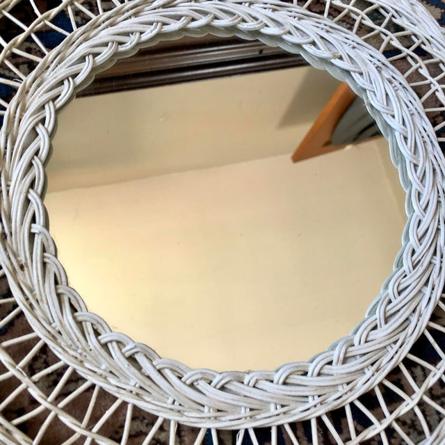 Mid 20th Century Vintage White Wicker Round Wall Mirror For Sale - Image 5 of 11