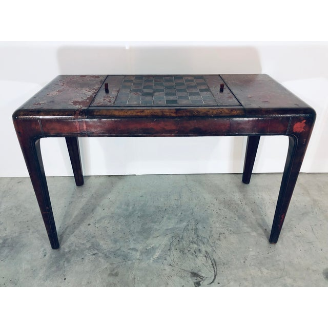 1970s Mid-Century Modern Maitland Smith Distressed Leather Game Table For Sale - Image 5 of 13