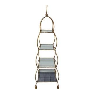 Italian Gold Gilt Rope and Tassel Etagere Shelf For Sale