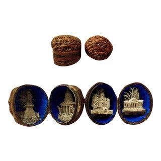 "Rare 19th Century Walnut Shell ""European Landmarks"" Dioramas For Sale"
