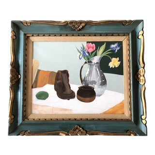 Vintage Abstract Still Life Painting Carved Wood Frame 1970's For Sale