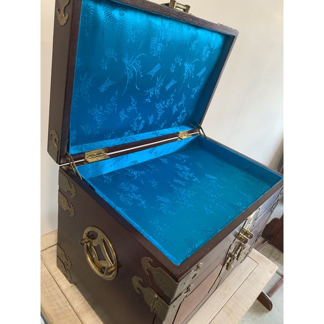 Metal Stunning Vintage Asian Silk Lined Jewelry Box With Flame Mahogany Inlay and Etched Brass Trim and Lantern Pulls For Sale - Image 7 of 13