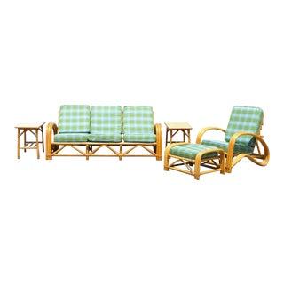 Vintage 5 Piece Rattan Bamboo Pretzel Sunroom Tiki Living Room Sofa Chair Set For Sale