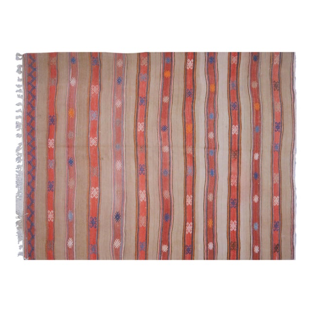 "VintageTurkish Anatolian Hand Made Organic Wool Dowry Kilim,5'5""x7'5"" For Sale"