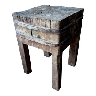 Italian Antique Butcher Block Table For Sale