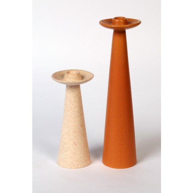 Mid-Century Rust and Cream Ceramic Candlesticks - a Pair For Sale In Chicago - Image 6 of 6