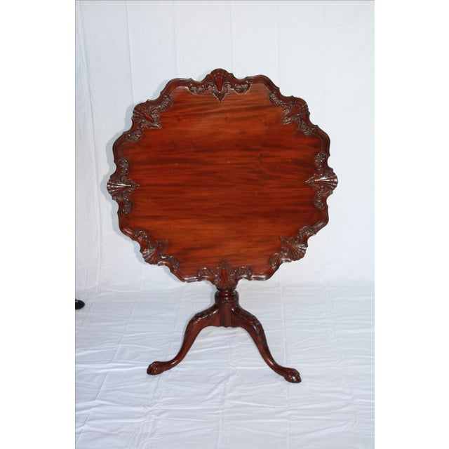 Carved Mahogany Pie Crust Tilt-Top Table For Sale - Image 5 of 7