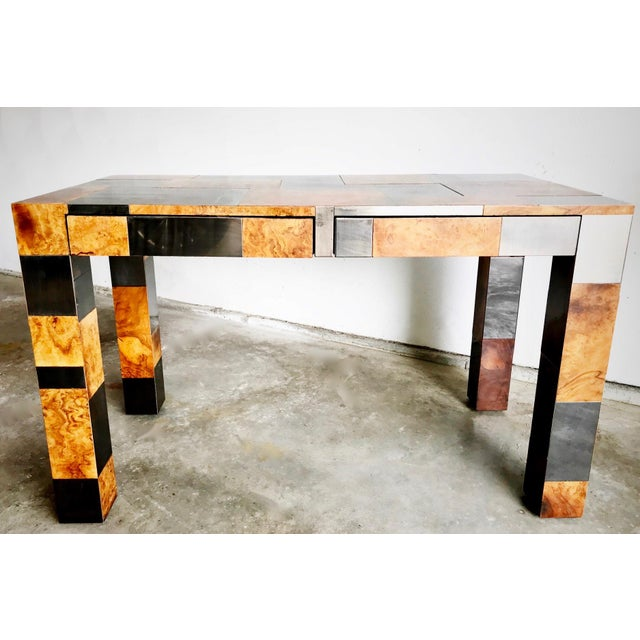 """Abstract Paul Evans Signed Original """"Cityscape"""" Desk in Burl Walnut & Chrome For Sale - Image 3 of 11"""