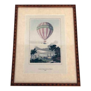 Hot Air Balloon Ascension Hand Colored Book Plate Framed Print James Sadler For Sale
