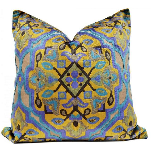 Dubai Moroccan Tile Inspired Cut Velvet Pillow - Image 1 of 3