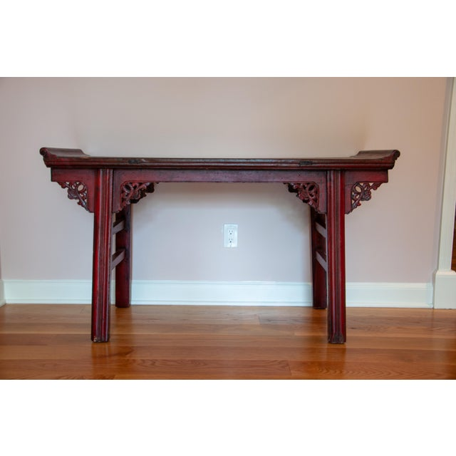 Chinese Red Altar Console Table For Sale - Image 13 of 13