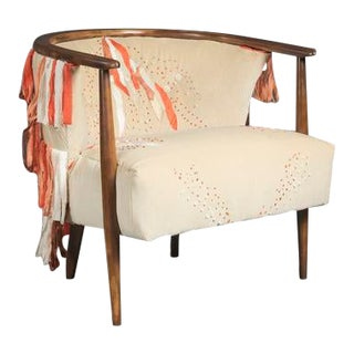 Mid-Century Modern Ivory Barrel Chair With Hand Embroidery For Sale