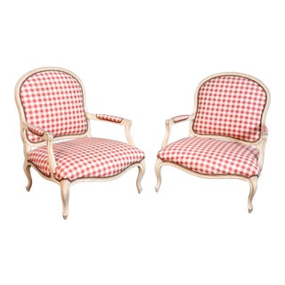 Pair of Oversized Antique Distressed Painted Louis XV Style Bergere Chairs For Sale