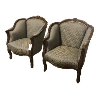 Vintage Italian Handcarved Wooden Club Chairs- A Pair For Sale