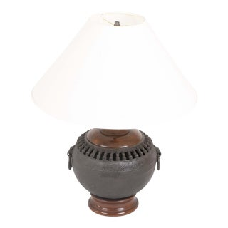 Late 19th Century Japanese Cast Iron Hibachi now a Lamp For Sale
