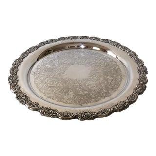 Vintage Oneida Silver Plated Rose Rimmed Serving Platter