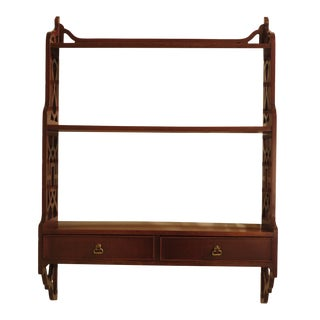 1970s Chippendale Biggs 1 Drawer Mahogany Hanging Shelf For Sale