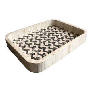 Tozai Home Rounded Rectangular Bone Tray With Geometric Inlay