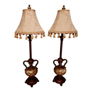 Vintage Buffet Lamps With Cloth Shades and Fringe - a Pair For Sale