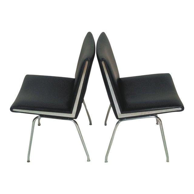 1960s Vintage a.p. Stolen for Hans J. Wegner Black Airport Lounge Chairs - A Pair For Sale