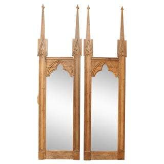 Late 19th Century Stripped Pine Mirrors - a Pair For Sale