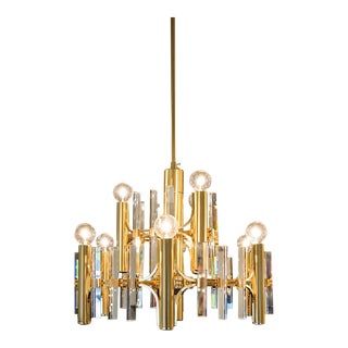 1960s Sciolari Brushed Brass and Crystal 9 Light and Two Tiered Chandelier For Sale