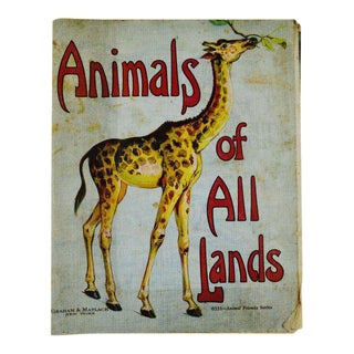 """Animals of All Lands"" Linen Children's Book For Sale"
