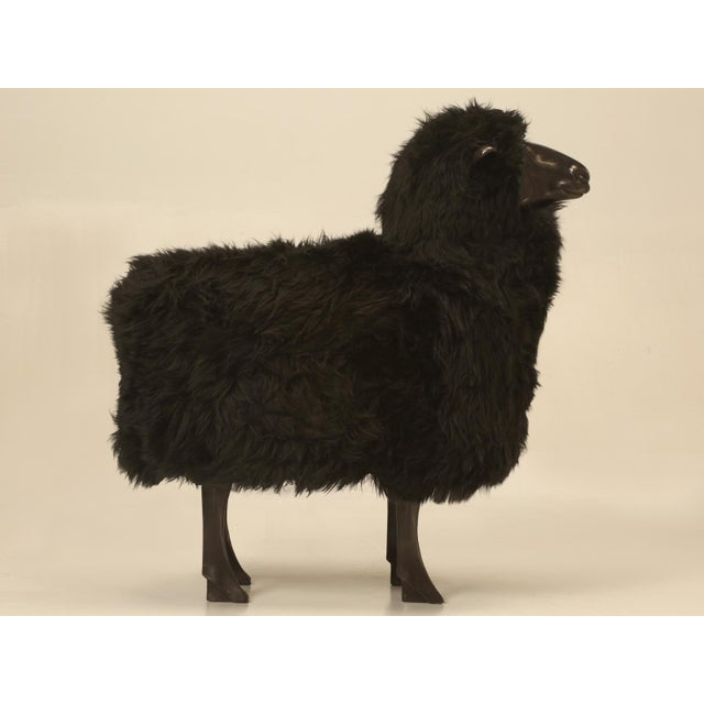 Folk Art Bronze Black Sheep With Real Fur For Sale - Image 3 of 11
