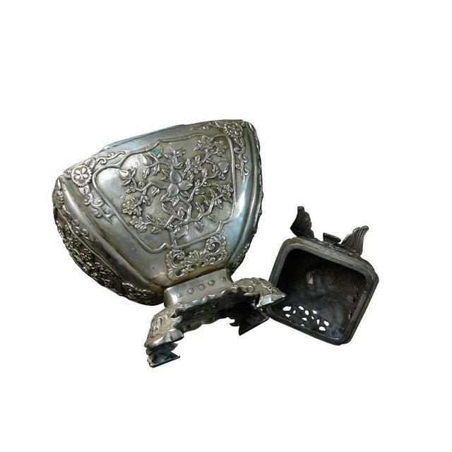 2010s Silver Coating Artisitic Square Vase Shape Incense Burner Display For Sale - Image 5 of 6