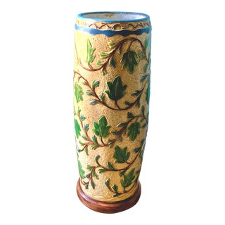 1940s Vintage Yellow Botanical Ceramic Umbrella Stand For Sale