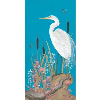 """""""Nothing to Egret"""" Modern Chinoiserie Painting by Allison Cosmos For Sale"""