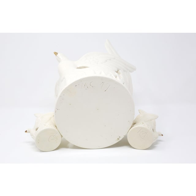 Ceramic Flying Doves Candle Holders - Set of 3 For Sale - Image 11 of 12