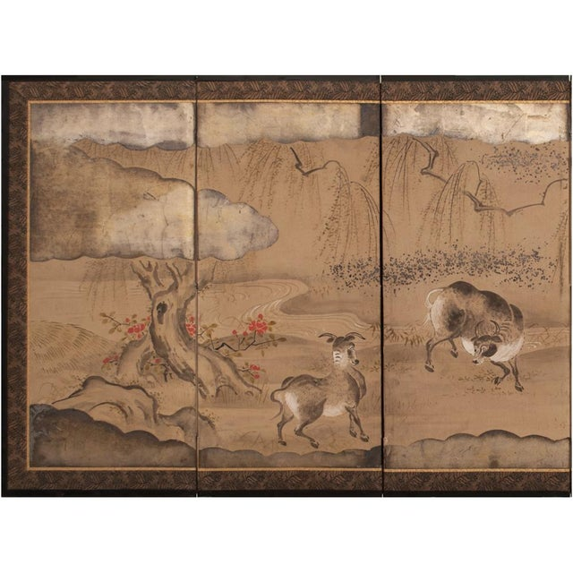 Gold Leaf 19th Century Late Edo Era Gold Leaf Japanese Byobu Screens- a Pair For Sale - Image 7 of 13