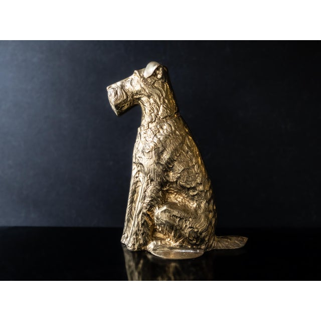 Gorgeous, vintage, brass, Maitland Smith, Scottish Terrier doorstop. The terrier is close to life size and in a seated...