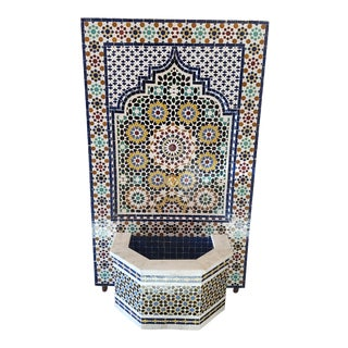 Chefchaouen Marble Border Moroccan Multi-Color Tile Fountain For Sale