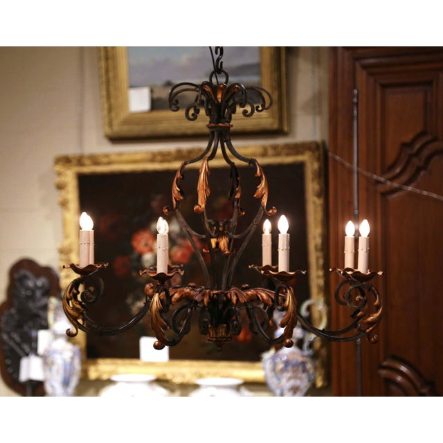 Early 20th Century Early 20th Century French Louis XV Painted & Gilt Six-Light Iron Chandelier For Sale - Image 5 of 12