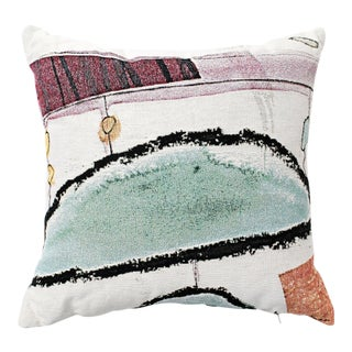 Contemporary Bright Pastel Woven Canvas Throw Pillow For Sale