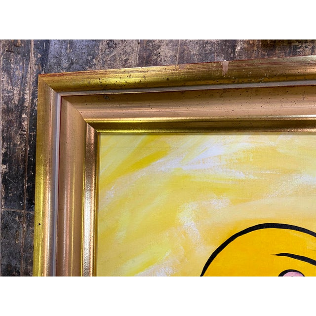 Paper After Picasso Woman With Yellow Hair Acrylic Painting, Framed For Sale - Image 7 of 13