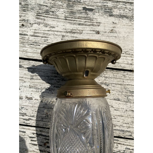 Vintage Brass Ceiling Fixture With Vintage Stalactite Cut Glass Shade For Sale - Image 4 of 7