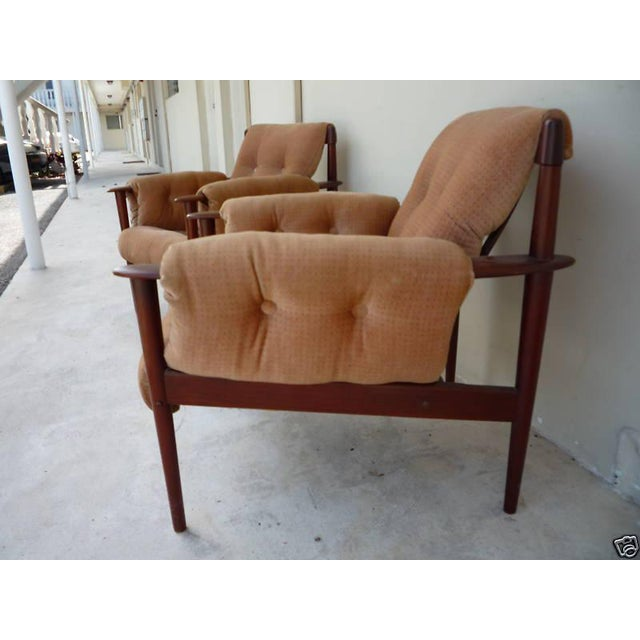 Brown 1950's Vintage Greta Jalk & Poul Jeppesen Chairs- A Pair For Sale - Image 8 of 11