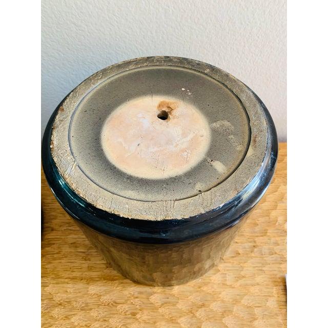 Mid-Century Modern Black Gainey Ceramics Planter Pot Plus Draining Platter Saucer For Sale In Palm Springs - Image 6 of 10