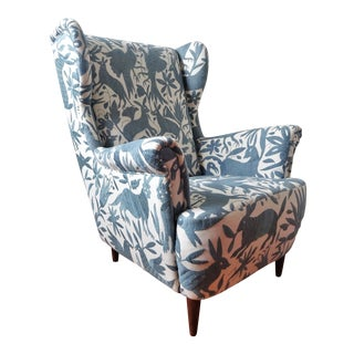 1960s Mid-Century Modern Otomi Hand Embroidery Wingback Chair For Sale
