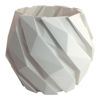 Futuristic Modern Planter With Interleaved Polygon Layers in White